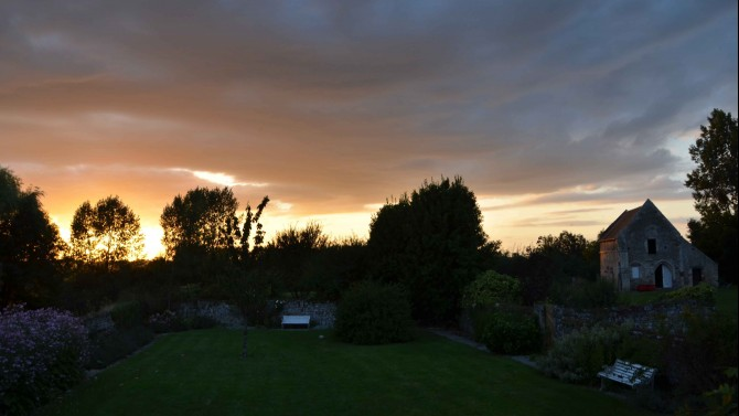 Walled garden from the kitchen at sunset
